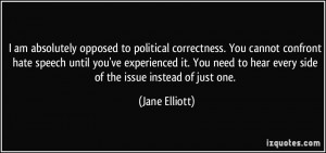 opposed to political correctness. You cannot confront hate speech ...