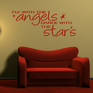 Fly With The Angels Inspirational Quote Wall Sticker Home Decor ...