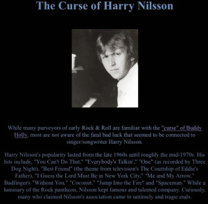 Is there really a Curse of Harry Nilsson, or is Harry Nilsson helping ...