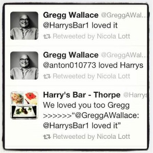 Harry's Bar & Restaurant: twitter quote by Gregg Wallace - MasterChef