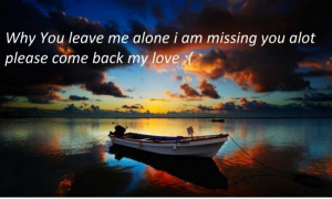 Why you leave me alone i am missing you alot please come back my love ...