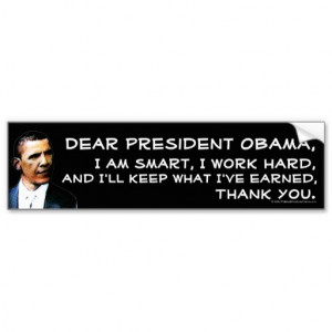Anti-Obama Quote Decal, Pro-capitalism Car Bumper Sticker