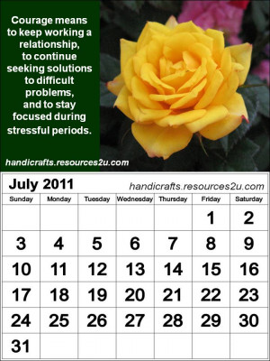 Vertical July 2011 Calendar with quotes