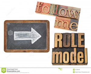Follow me and role model - leadership concept - collage of isolated ...