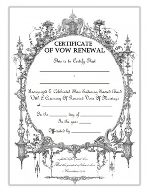 Victorian Frame Vow Renewal Certificate With Corinthians Quote