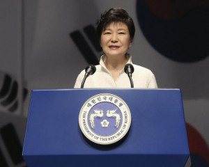 South Korean President Park Geun-hye speaks during a ceremony marking ...