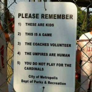 Little league reminders for the parents...keeping them in check -- dd