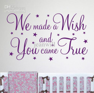 We made a wish Wall Quote Nursery Wall Decal Decor Sticker Vinyl Wall ...