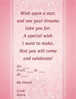 Sweet Sixteen Invitation Wording