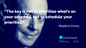 The key is not to prioritize what's on your schedule, but to schedule ...