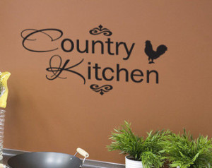 Country Kitchen Vinyl Wall Quote De cal Rooster Home (v146) ...