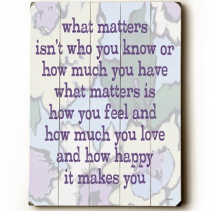 What Really Matters...