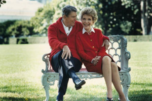 The late President Ronald Reagan and first lady Nancy Reagan are shown ...