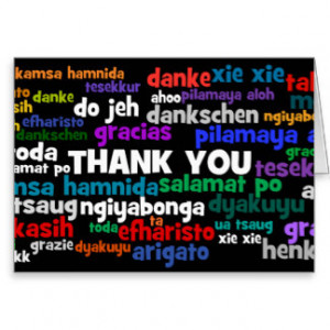 Multiple Ways to Say Thank You in Many Languages Stationery Note Card