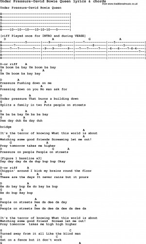 Love Song Lyrics for: Under Pressure-David Bowie Queen with chords for ...