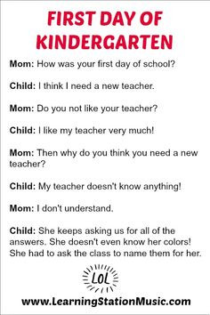 First Day of Kindergarten: Children say the most amazing things! Very ...