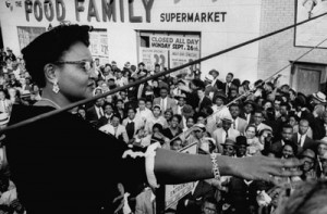 Mamie Till Bradley speaking to anti-lynching rally after an all white ...