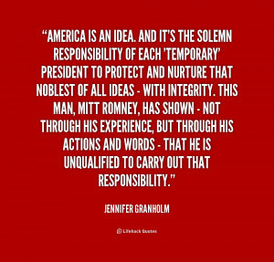 quote Jennifer Granholm america is an idea and its the 182124 png