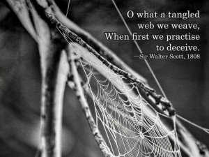what a tangled web we weave, When first we practise to deceive. Sir ...