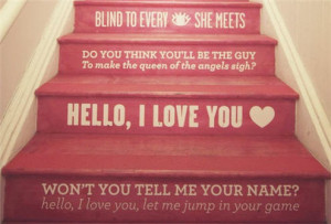 Weekend Decorator – stair rise – painted pink with quotes. This ...
