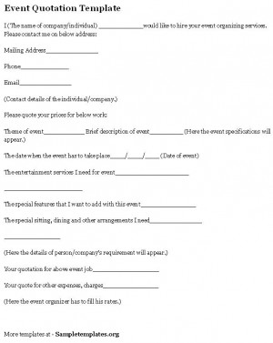 Sample Event Quotation Template