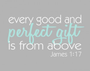 ... Aqua and Grey Print, James 1:17 Bible Verse, 8x10 Nursery, Adoption