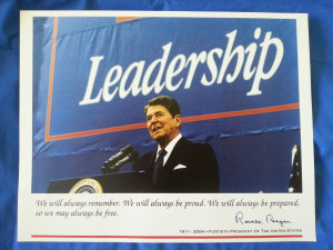 Home / Prints / Leadership with Ronald Reagan and Quote Poster