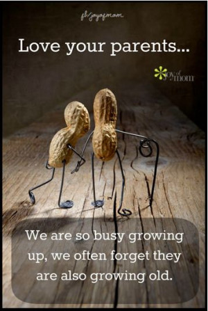 Love your parents...We are so busy growing up, we often forget they ...