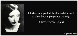 Intuition is a spiritual faculty and does not explain, but simply ...