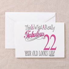 22nd Birthday Gifts Greeting Card for