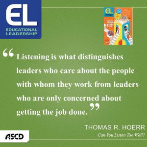 "... Can You Listen Too Well?"" Educational Leadership, November 2013"