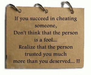 Cheating someone....
