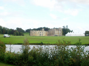 Full view of Leeds Castle from a distance