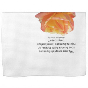 Red Yellow Variegated Rose and Thorn Quote Hand Towels