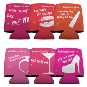 bachelorette party funny saying koozies