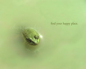 Find Your Happy Place - Minty Green Frog Toad Puddle Inspirational ...