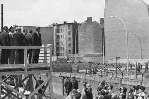... Berlin across the Berlin Wall, which divided the German city. AP Photo