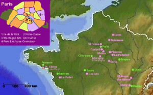 map showing places in Northern France where Peter (Pierre) Abelard ...
