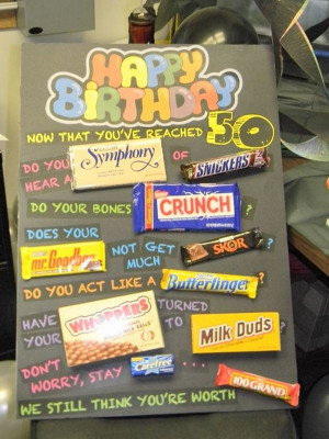 50th Birthday Poster Made with Candy Bars, source