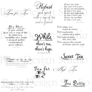 Digital Quotes, Word Art about Tea- Clip Art for personal/commercial ...