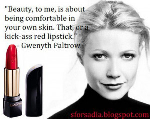 Red Lipstick, Gwenyth Paltrow, lancome l'absolu rouge, quote