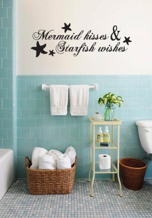 mermaid kisses and star fish wishes wall decal ocean bathroom sea ...