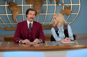 Desk set: Ron Burgundy (Will Ferrell) with wife and co-anchor Veronica ...