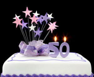 50th birthday party cake; Copyright Robynmac at Dreamstime.com