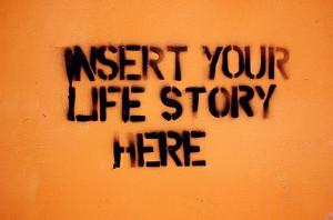 artwork, graffiti, life story, quote, stencil, streetart