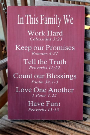 Family Rules Sign, Bible Verses, Christian Values sign, Family ...