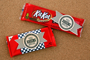 If you want - wrap a piece of scrapbook paper around the Kit Kat