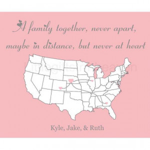 Family Together Map Print long distance by Littlegiftsfrmheaven, $20 ...