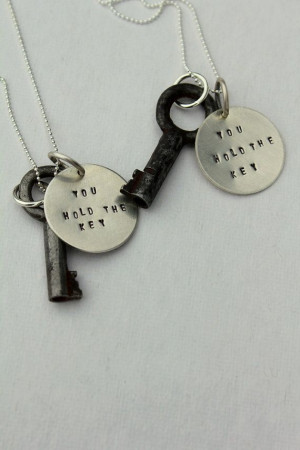 Inspirational You Hold the Key Quote Necklace - Valentines Day ...