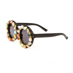 Kay Perry Crystal and Flower Embellished Round Sunglasses | Claire's ...